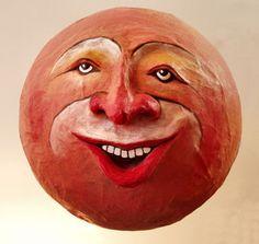 """Sculpture Gallery: Papier Mache Heads (""""Moons"""") by Tom Fletcher"""