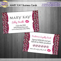 MARY KAY Consultant or Director business cards - frequent buyer reward punch card...something to think about and ask my director their opinion