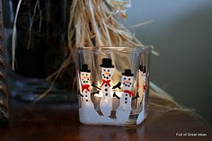 Five finger snowmen - candle or ornament. (Lil's fingers of course)