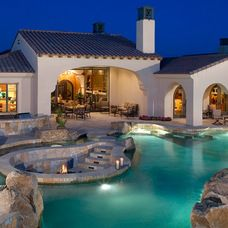 Fire pit inside pool, really cool!