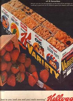 Kellogg (1963), loved the variety packs!...add milk right to the box.