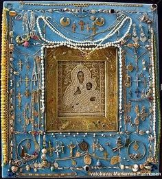 The miraculous icon of the Theotokos of Kozeltshan before theft from Uspenski Cathedral (Helsinki, Finland). The icon is associated with Saint John of Kronstadt.    http://www.johnsanidopoulos.com/2011/02/icon-of-theotokos-of-kozeltshan-is.html