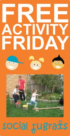 Free Activity Friday - Create a backyard obstacle course! There are a ton of toys from around the house you can use to keep it exciting. A scooter, tricycle, or bicycle, a tunnel, hula hoops, balls, ring toss, basketball goal, and much much more. Get creative and time the finishes for some competitive family fun! (Each Friday Social Rugrats shares an activity that you can do over the weekend, as a FAMILY, for FREE! Families that play together stay together!)