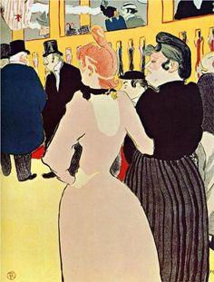 At the Moulin Rouge, La Goulue with Her Sister - Henri de Toulouse-Lautrec