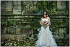 bridal portrait - moody october wedding portraits - fall - cincinnati, ohio - spring grove cemetery and arboretum