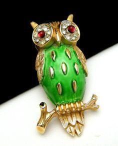 Crown Trifari Figural Owl Pin Green Enamel Pave Rhinestones Red Eyes | SOLD