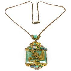 Vintage Czech Art Deco Neiger Dragon Enamel Peking Glass Enamel Chain Necklace | Clarice Jewellery | Vintage Costume Jewellery