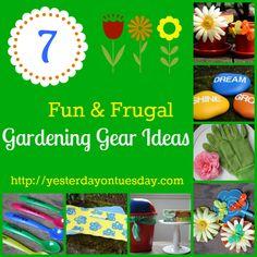 7 Fun and Frugal Gardening Gear Ideas  #gardening #gardencrafts #frugal #dollarstore