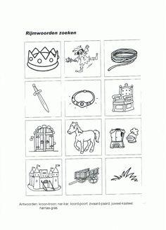 spelletje voor de kleinere ridders; zoek de de plaatjes van de woorden die op elkaar rijmen bij elkaar.  even printen; stiften er bij (kleur de paren in dezelfde kleur)