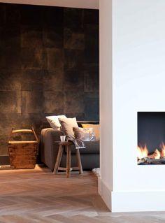 cosi fireplac, interior, houten vloeren, floor, wall treatments, stone walls, textured walls, visgraat vloeren, accent walls