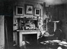 Charles Darwin's study at Down House (b/w photo)