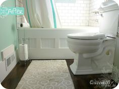 Bathtub Face {Makeover} #bathroom #tub #vintage #cottage  Step by step how to gussy up the front of your tub!