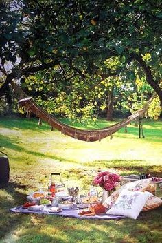 Picnic in the park #LiveAlfresco #SummerResolutions summer picnic, pillow, park, dates, hammocks, company picnic, picnics, gardens, fresh flowers