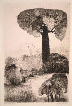 Artist: Laxma Goud. Title: Trees. Year: 1976. Description: etching.