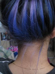 Blue streaks underneath, I've been trying to figure out a way to sport blue hair at work... This may be the ticket! Crazy Hair, Purple Hair, Hair Colors, Dark Hair, Black Hair, Blue Hair, Highlight, Stripe, Blues