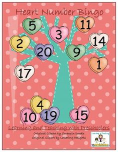 Get your freebie heart bingo game.  Working with numbers 1 to 20