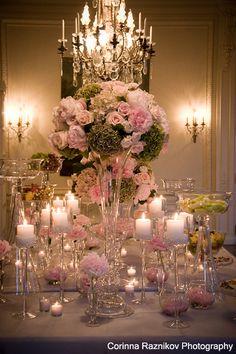 pink wedding centerpieces, decor wedding, flower centerpieces, wedding flower arrangements, reception ideas, pink centerpieces wedding, wedding flowers centerpieces, candle ideas green, green flowers