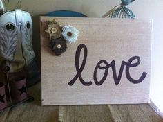 Love Canvas, handmade burlap flowers, rustic, shabby chic wall decor, painting on canvas, wall hanging, wall art