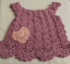 Crochet Baby Dress - Purple - 3 Months
