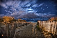 View larger.   EarthSky Facebook friend Mike Taylor caught this beautiful shot of Orion and the moon rising over the Atlantic Ocean on Maryl...