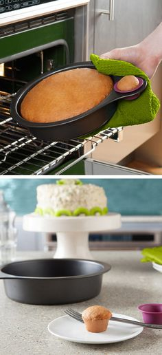 Cake pan with a mini silicone cup, so you can try it without messing up the cake. #brilliant
