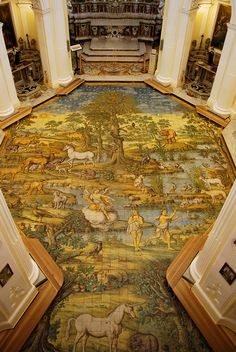 Beautiful mural type design on floor of Hotel San Michele Anacapri