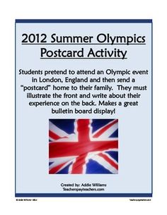 FREE Summer Olympics Writing Activity - Re-pinned by @PediaStaff – Please Visit http://ht.ly/63sNt for all our pediatric therapy pins