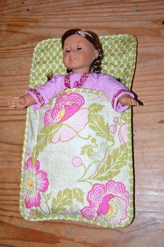 "Doll Sleeping Bag - Fits American Girl Doll and all 18"" dolls. $20.00, via Etsy."