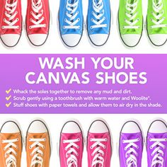 How to wash you canvas shoes. All you need is warm water, a toothbrush
