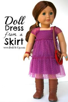 Make a doll dress from a skirt with a shortcut for the sleeve! Girl Doll, Doll Dresses, Ag Tutori, Skirts, Girl Skirt, Sleeves, American Girls