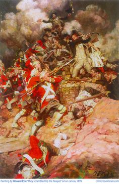 Howard Pyle illustration titled The Parapet depicting British and American Revolutionarys in combat, painted 1899 in oil on canvas
