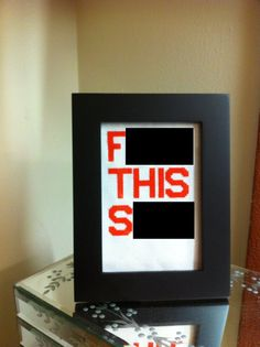 F THIS SH/T 35x5 framed cross stitch by UnexpectedSewing, $12.99