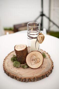 Love the wood idea! tree trunks, rustic centerpieces, rustic weddings, woodsy wedding, candl, mason jars, log, winter weddings, wedding centerpieces