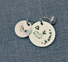 Mommy Necklace Hand Stamped Mama Bird by 3LittlePixiesShoppe, $40.00