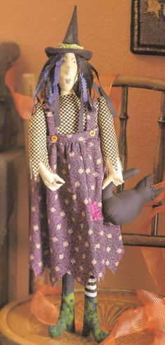 Witch Doll with Cat by Ruth Landis; how-to pattern available in the book Creepy Crafty Halloween.
