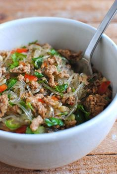 Thai Noodle Salad.   Try turkey instead of pork