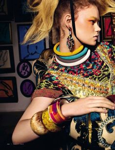 """Culture Remix --- """"Pop Tribale"""" Kelly Mittendorf by Stewart Shining for Vanity Fair Italia March 2014"""
