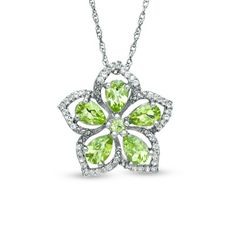 Peridot and White Topaz Flower Pendant in Sterling Silver