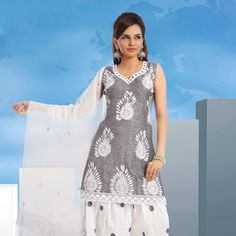 Grey Cotton Readymade Salwar Kameez