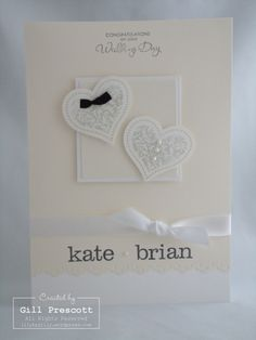 Stampin' Up! - wedding card. I love the vanilla/white combo here.
