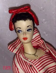 No. 1 hand painted brunette Barbie from the collection of Rosalie A. McFarlane.