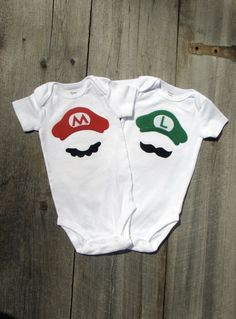 Twin Shower Gift Mario And Luigi Super Mario Brother Onesies. $36.00, via Etsy.