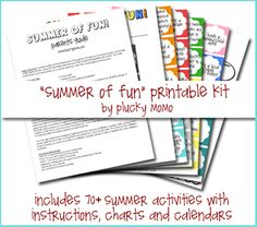 Free SUMMER OF FUN Kit. Over 70 activities for Summer with included instructions, recipes, charts and guides.  Via Plucky Momo. activities for kids, printabl kit, fun kit, summer fun activities, summer activities, summer fun list, printable calendars, kid summer, fun printabl