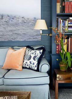 dark blue walls; Ashley Whittaker design; pomegranate fabric