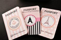 Parisian themed passport invite.