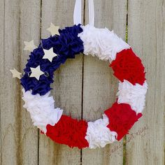 Wreath Tutorial | 4th of July DIY Patriotic Wreath A simple and very flattering Patriotic wreath that costs very little to make. But makes a huge impact in home decor! It is perfect for the patriotic home, 4th of July or even Memorial Day or Veteran's Day decor.