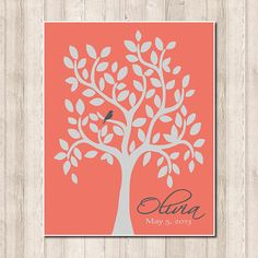 Coral Peach Grey Gray Nature Birds Nursery Tree Leaf Branch Custom Name Birthday Baby Shower Gift Print Wall Decor Art Picture Crib Bedding on Etsy, $22.00