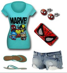 "LADIES' NIGHT: ""Spider-man Themed Outfit"" by Mary Huth. Stellar Flat Flip-Flops: http://www.payless.com/store/product/detail.jsp?catId=cat10088&subCatId=cat10039&skuId=138763050&productId=74211 Spider-man Eyes Ladies Wallet: http://www.superherostuff.com/spiderman/wallets/spiderman-eyes-hinged-ladies-wallet.html?itemcd=wallethingespid Spider-man Mask Earring: http://www.superherostuff.com/spiderman/earrings/spiderman-face-316l-surgical-steel-18g-stud-earrings.html?itemcd=earspdfacestud"