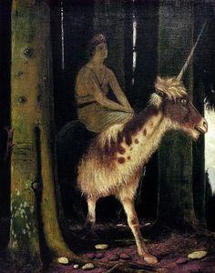 The Silence of the Woods ~ Arnold Böcklin forests, silenc, artists, furs, arnold boecklin, arnold bocklin, wood, unicorn, arnold böcklin