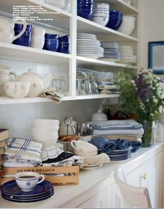 blue and white dish collection displayed on white shelving